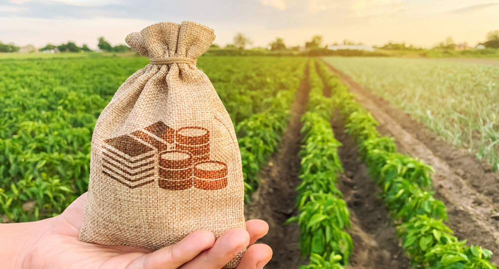 The,Farmer,Holds,A,Money,Bag,On,The,Background,Of